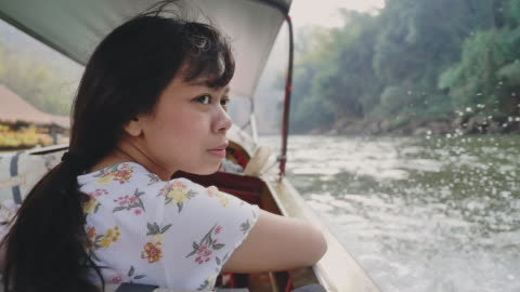 woman watching the beauty of nature - speed boat stock videos & royalty-free footage