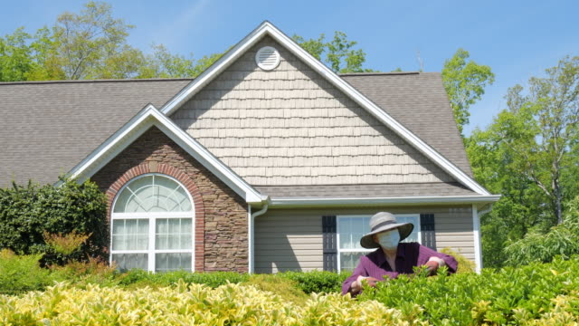 woman wearing face mask trimming front yard bushes in america amid the coronavirus pandemic which declared social distancing and stay at home order. - gardening glove stock videos & royalty-free footage