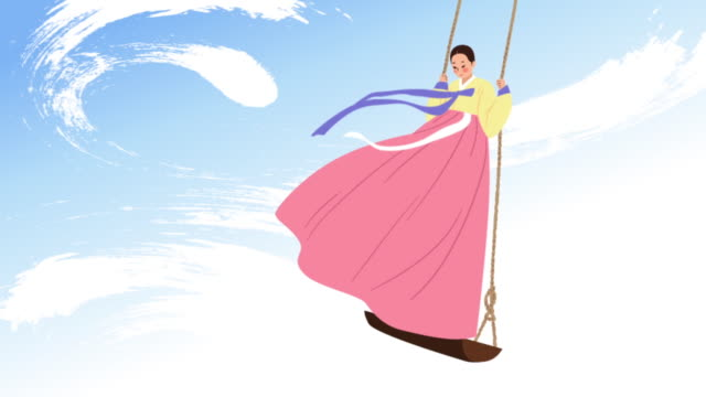 vidéos et rushes de a woman wearing in 'hanbok' (korean traditional clothes) playing on the swing - balançoire