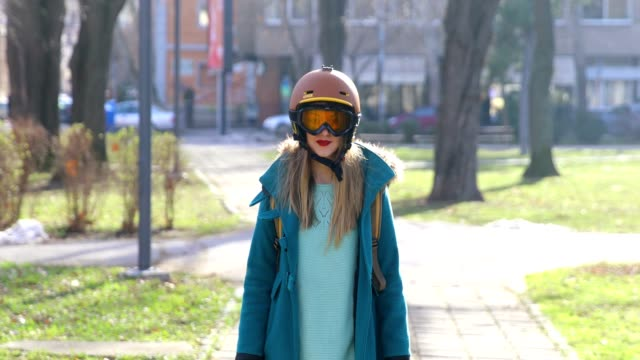 woman wearing ski helmet and goggles - ski goggles stock videos & royalty-free footage