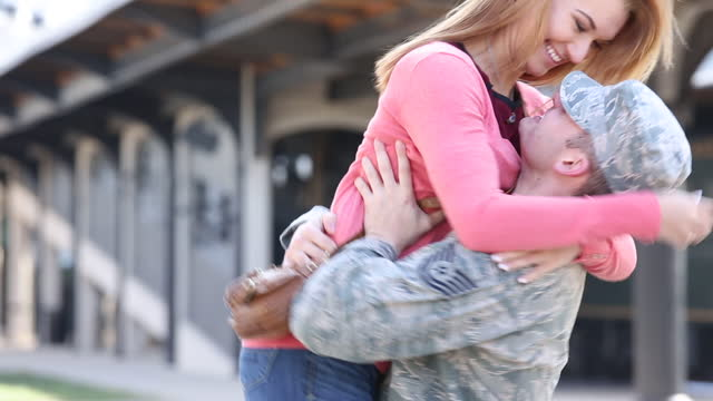 Woman Welcoming Home US Military Serviceman