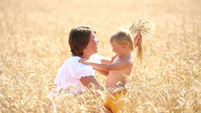 vídeos de stock, filmes e b-roll de mulher com criança abraçando no campo de trigo - cereal