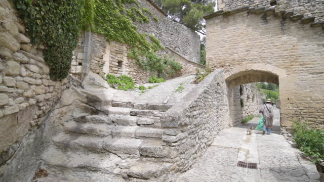 a woman with a dog walks in mountain village bonnieux - luberon stock videos & royalty-free footage