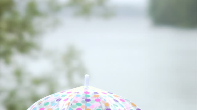 stockvideo's en b-roll-footage met a woman with a spotted umbrella sweden. - stippen