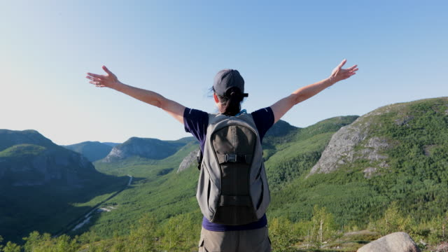woman with arms raised hiking to mountain peak at parc national des grands-jardins, quebec, canada - arms raised stock videos & royalty-free footage