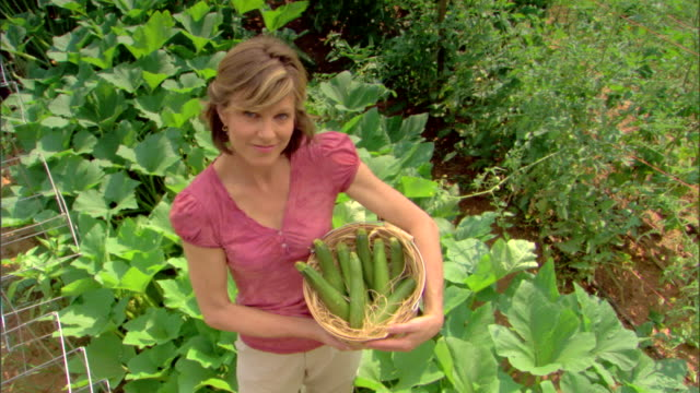 woman with basket of produce - see other clips from this shoot 1425 stock videos and b-roll footage