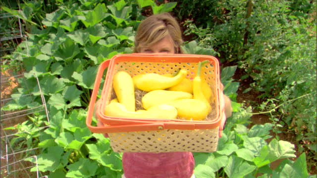 woman with basket of squash - see other clips from this shoot 1425 stock videos and b-roll footage