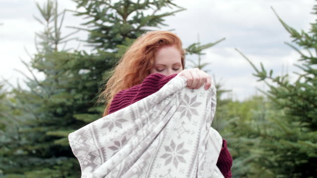 woman with blanket/ debica/ poland - wrapped stock videos and b-roll footage