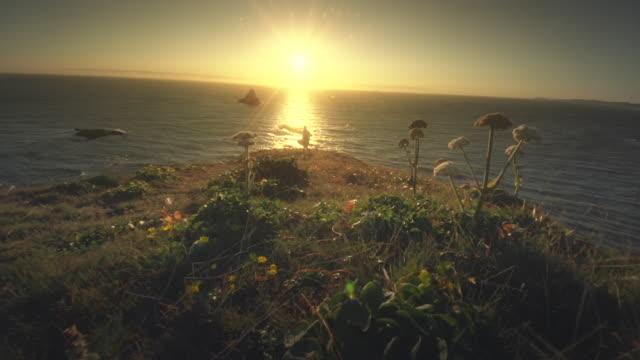 ms slo mo pov woman with cape in wind by ocean at sunset / cape blanco, oregon, united states - costa dell'oregon video stock e b–roll