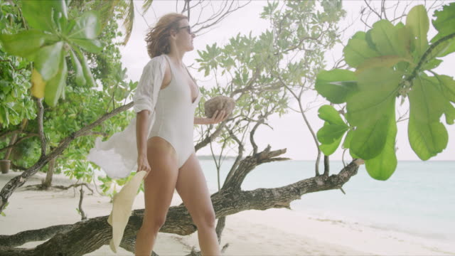 ms woman with coconut walking on tropical ocean beach,maldives - fallen tree stock videos and b-roll footage
