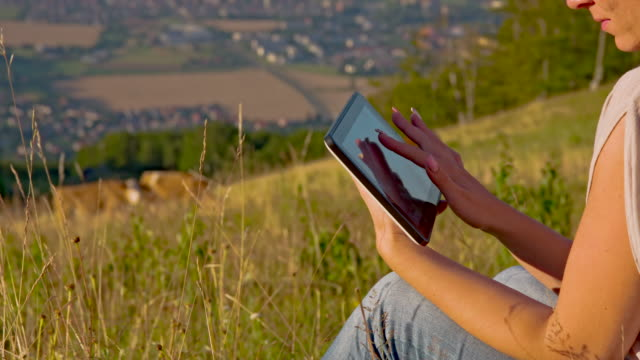 ms ds frau mit digitalen tablet in grass - medium group of animals stock-videos und b-roll-filmmaterial