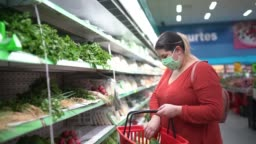 Woman with disposable medical mask shopping in supermarket