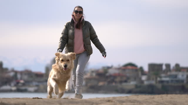 woman with dog enjoying on the beach - 40 44 years stock videos & royalty-free footage