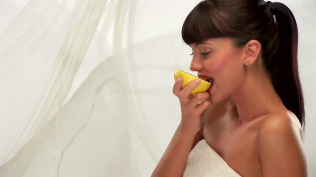 woman with grapefruit - wearing a towel stock videos & royalty-free footage