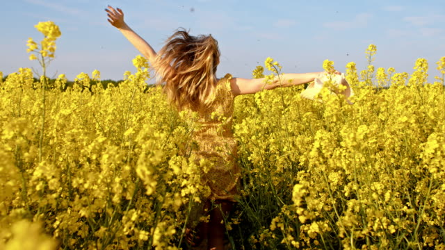slo mo woman with hat running among blooming canola - dress stock videos and b-roll footage