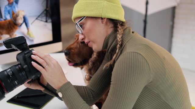 frau mit ihrem hund schaut ihre bilder auf einem computer nach einem fotoshooting. - digitalkamera bildschirm stock-videos und b-roll-filmmaterial