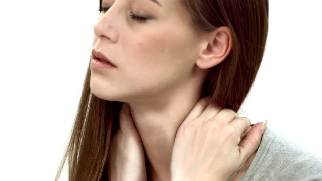 hd dolly: woman with neck pain - cramp stock videos & royalty-free footage