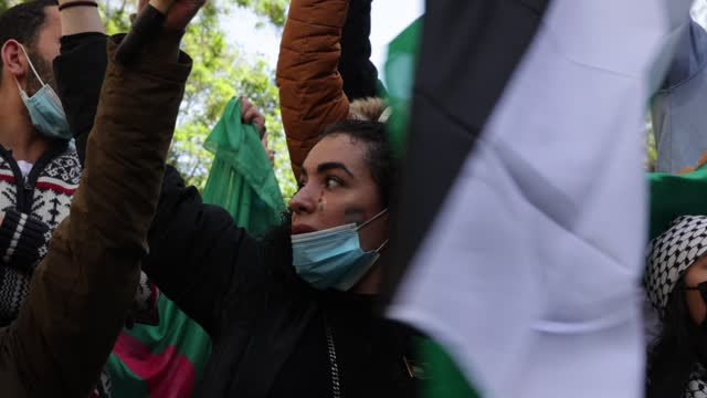 woman with palestinian make-up on her face holds a palestinian flag as part of a rally organized by several associations in support of the... - パレスチナ文化点の映像素材/bロール