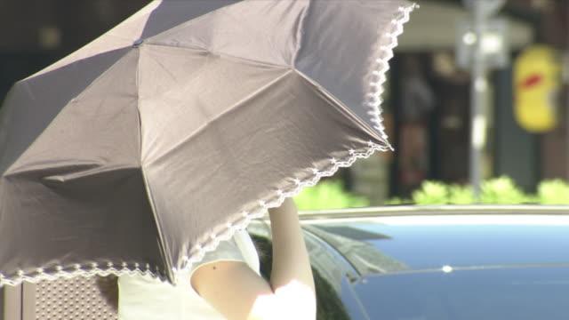 vídeos de stock, filmes e b-roll de cu, a woman with parasol, tokyo, japan - chapéu de sol