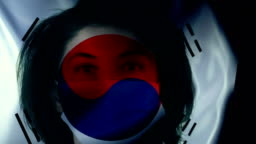 Woman with Protective Face Mask on South Korean Flag. Protection for Viruses and Infections.