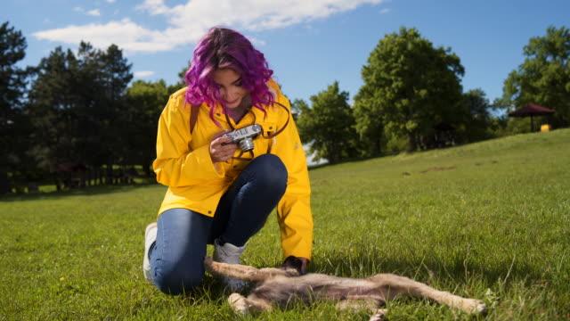 レトロカメラ撮影子犬との女性 - photographing点の映像素材/bロール