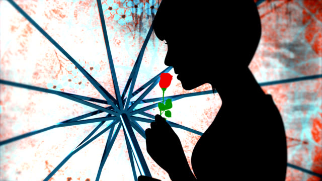 Woman with rose - Silhouette di ragazza con fiore