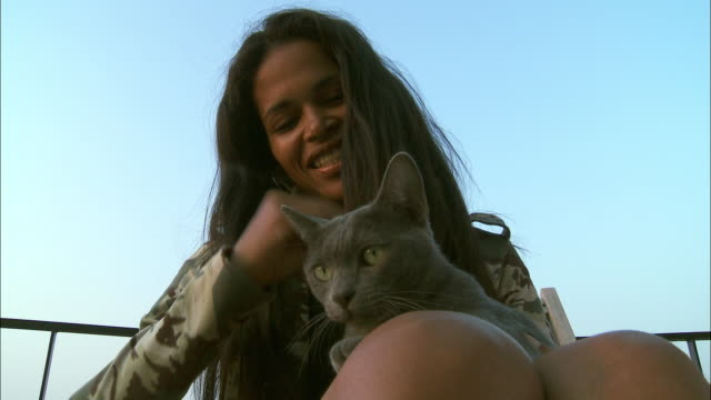 MS LA Woman with Russian Blue cat / Brussels, Belgium