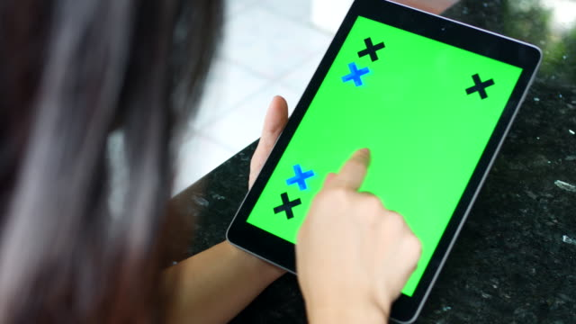 Woman with Tablet  Chroma Key