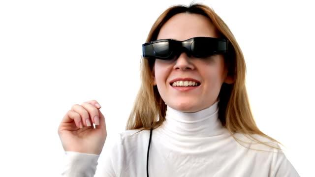 Woman with video eyewear in cyberspace