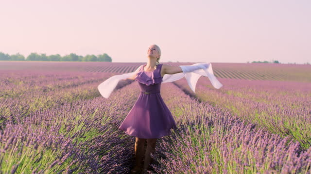 wa woman with white scarf spinning in a field of lavender - francia video stock e b–roll