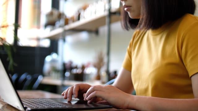 woman working at cafe with laptop and typing on keyboard , slow motion - journalist video stock e b–roll