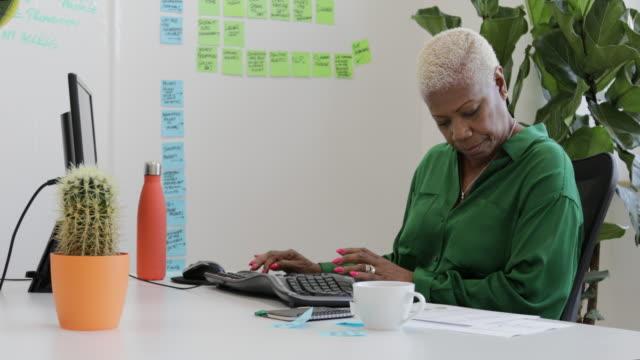 woman working at her computer - pensionati lavoratori video stock e b–roll