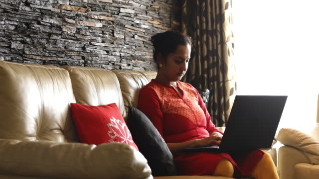 woman working at home - indian ethnicity stock videos & royalty-free footage
