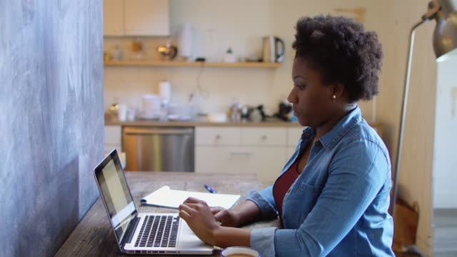 vídeos de stock e filmes b-roll de woman working at laptop in modern office - afro