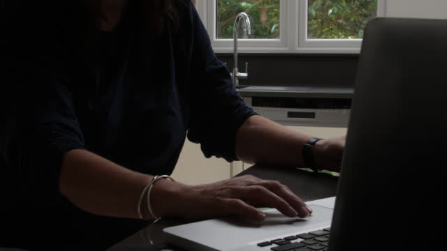 woman working from home. laptop close up hands. - unrecognisable person stock videos & royalty-free footage