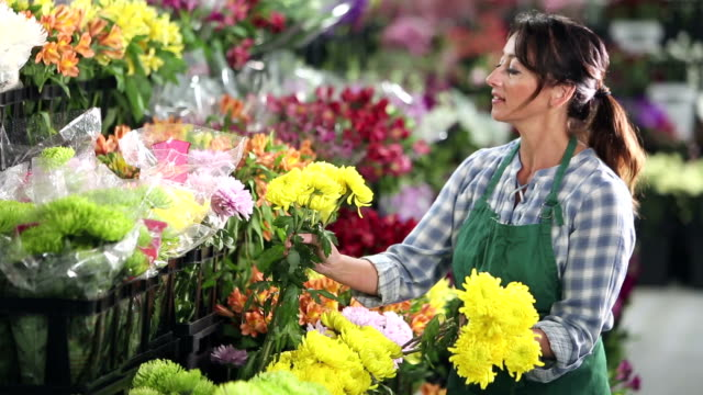 woman working in a flower shop - flower shop stock videos & royalty-free footage