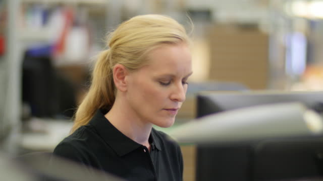 Woman working in a logistics center