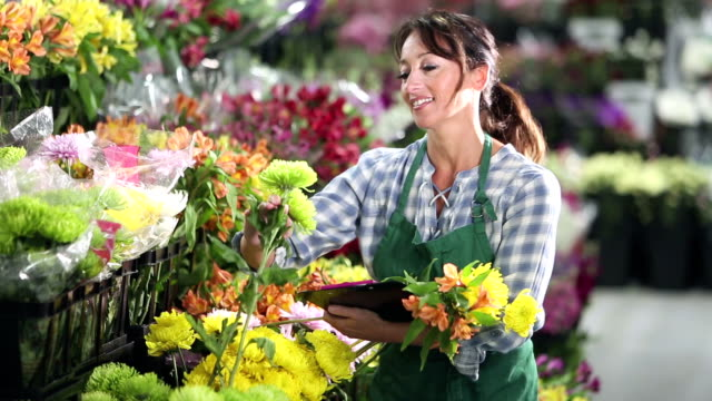 woman working in flower shop, picking blooms for bouquet - flower arrangement stock videos & royalty-free footage