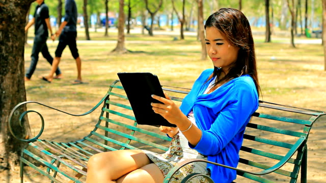 Woman working in park