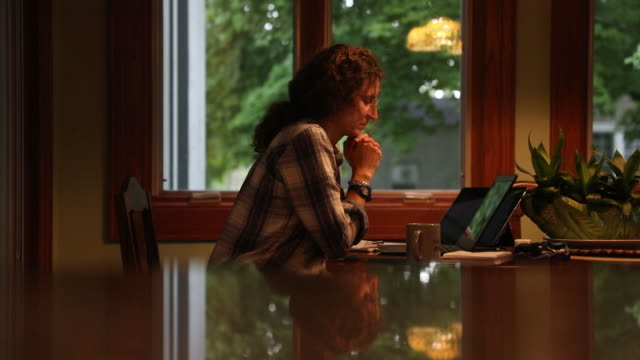 woman working on laptop at home amid coronavirus pandemic in tiskilwa, il, u.s. on tuesday, september 8. 2020. - using laptop stock videos & royalty-free footage