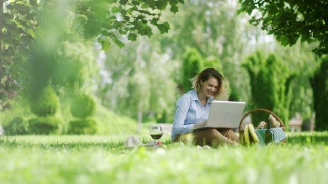 女性の性質をピクニックにラップトップに取り組んで - 風致地区点の映像素材/bロール