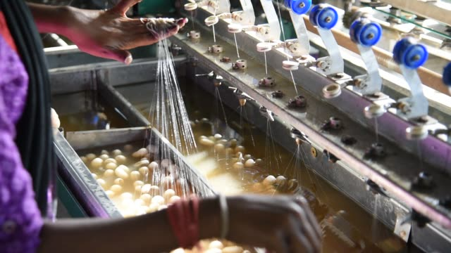 woman working on silk making machine from cocoon of silkworm - natural condition stock videos & royalty-free footage