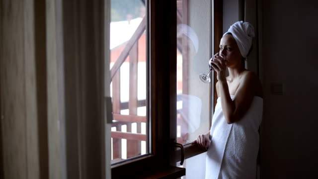 woman, wrapped in a towel, drinking wine - wrapped in a towel stock videos & royalty-free footage