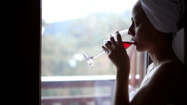woman, wrapped in a towel, drinking wine - drinking glass stock videos & royalty-free footage