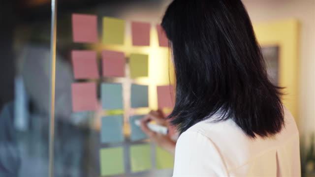 vidéos et rushes de femme écrit sur la note adhésive sur le mur de verre - collant description physique