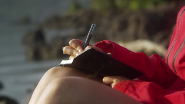 cu tu woman writing in diary sitting by water's edge, garibaldi provincial park, squamish, british columbia, canada - personal organiser stock videos and b-roll footage