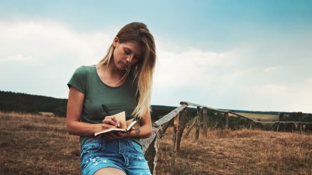 woman writing in diary while sitting on fence - diary stock videos & royalty-free footage