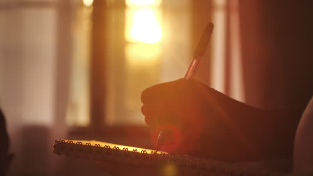 woman writing in her diary at sunset - report stock videos & royalty-free footage