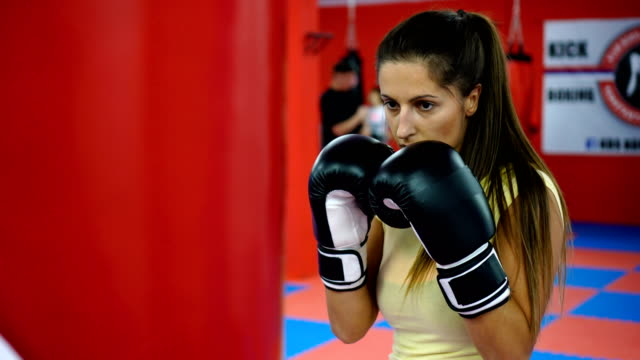 woman's boxing training - punch bag stock videos & royalty-free footage