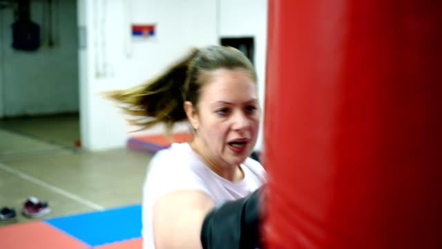 Woman's boxing training